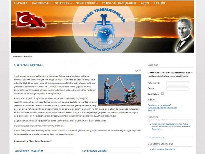 Engel Tanımayanlar Gençlik ve Spor Kulübü Kurumsal Websitesi Tasarımı