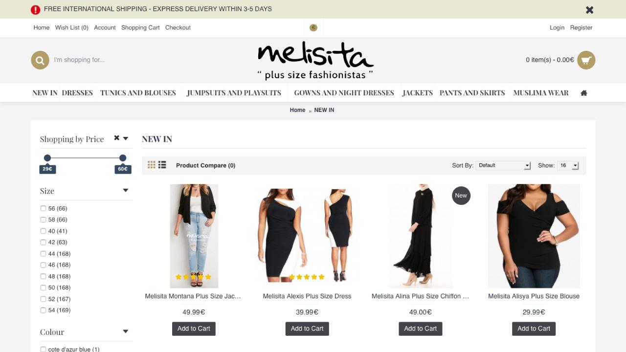 Melisita Büyük Beden E-Ticaret - E-İhracat Websitesi Tasarımı